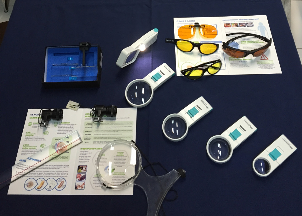 Exemplos de Ajudas técnicas / Produtos de apoio: óculos e lupas